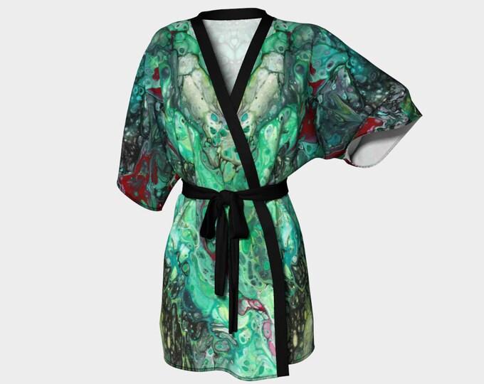 Kimono Robe, Dressing Gown, Black, Green, Ruby Red, Lounge Wear, Boho, Ruby Malachite Pattern 614
