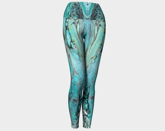 "Yoga Leggings ""Morning Tide"" Pattern 902, Yoga Pants Teal, Turquoise, Gray, Green, Wearable art"