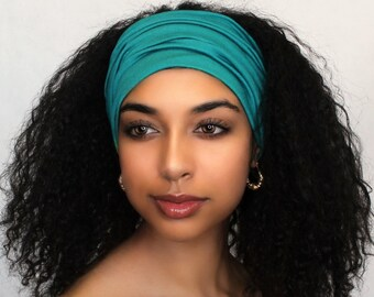 Turquoise Turban Head Band, Yoga headband, Wide Headband, Pretied Turban, Exercise Headband, Emerald Teal