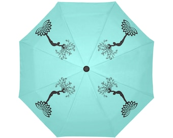 Automatic Open/Close Umbrella, Gift, Teal, Turquoise, Black, Yoga Pose, Tree of Life, Reaching Figure