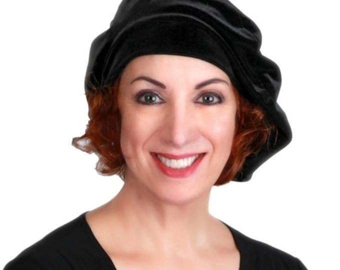 RETIREMENT SALE Oversize 13 inch Beret, Black Velvet Beret, Chemo Hat, French Beret, Large Beret, Slouchy Hat, Soft Hat,