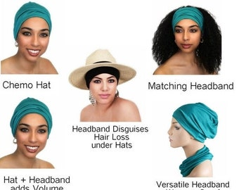 ON SALE Save 25% Chemo Hat, Sleep Hat, Alopecia Cap, Cloche, Scarf Liner, Slouch Hat, Emerald Teal, Turquoise, Rayon Knit, pre-tied turban