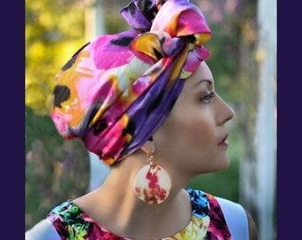 ON SALE Save 30% Turban DivaTurban, Chemo Hat, Head Wrap, , Hat & Scarf Set, Purple Pink Yellow Black Floral