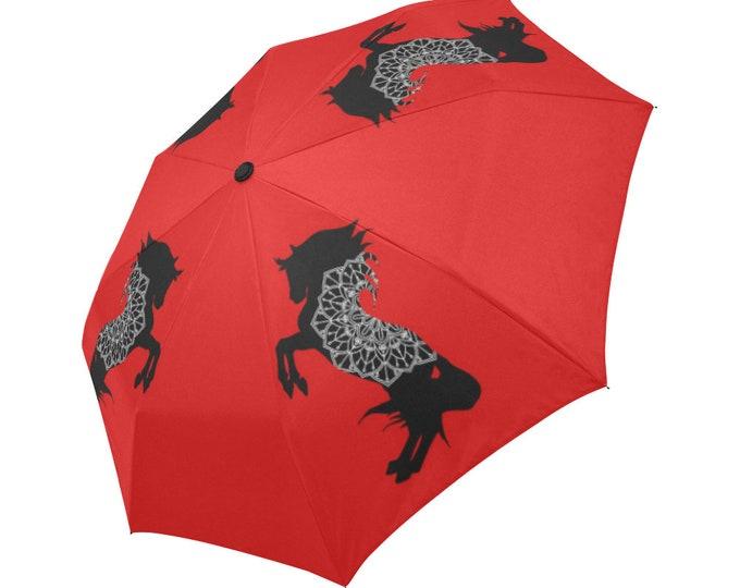 Automatic Open/Close Umbrella, Rearing Horse Mandala, Black and Red