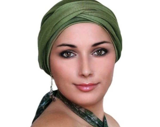 ON SALE Save 30% Turban Diva Olive Green Turban Hat and Scarf Set, Head Wrap, Alopecia Head Scarf, Chemo Hat, Jersey Knit Hat & Scarf Set