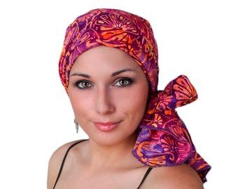 Turban Diva Fan the Flames Purple Coral Turban Chemo Hat Head Wrap Alopecia Scarf Batik Boho, Chemo Turban, Hat & Scarf Set