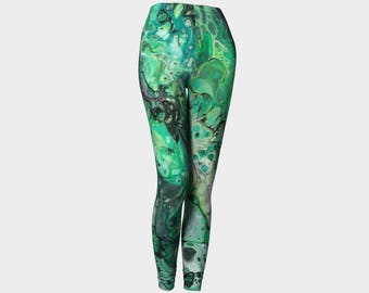 "Classic Leggings ""Ruby Malachite 2"" Pattern 803a Green, black, red, gray Wearable art"