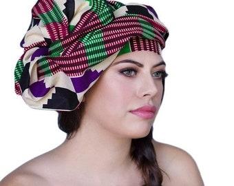 RETIREMENT SALE Save 50% African Wax Print Turban Dreads Wrap,Red Green Purple Black Head Wrap, Chemo Hat, Boho Gypsy Tribal, 1 Piece Wrap