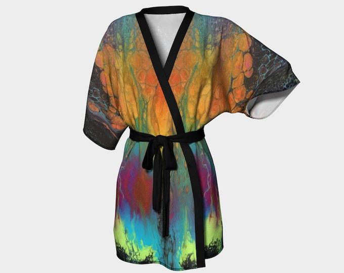 Kimono Robe, Dressing Gown, Teal, Turquoise, Black, Orange, Green, Pink, Blue, Lounge Wear, Boho 611