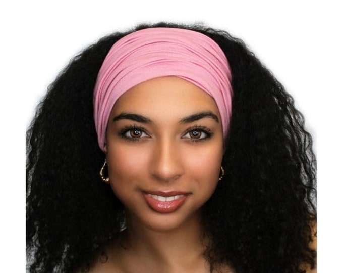 ON SALE Save 25% Rose Pink Turban Head Band, Yoga headband, Wide Headband, Exercise Headband, Pretied Turban 298-09a