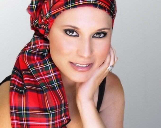 RETIREMENT SALE Turban Diva Red Plaid Turban Chemo Head Wrap Alopecia Scarf, Hat & Scarf Set, Gift for Her