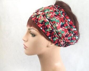 RETIREMENT SALE Save 50% Turban Head Band, Confetti print, Yoga headband, Wide Headband, Exercise Headband, Pretied Turban