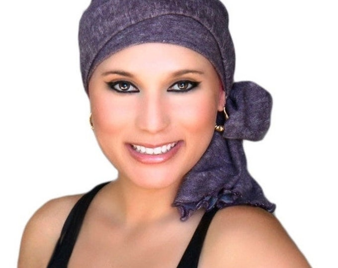 ON SALE Save 30% Turban Diva Plum Heather Turban, Purple Turban, Eggplant Turban Head Wrap Alopecia Head Scarf Chemo Hat, Jersey Knit Hat &