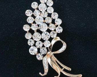 Rhinestone Flower Brooch, Flower Pin, Vintage Style Brooch 10-03