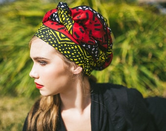 African Wax Print Turban Dreads Wrap, Red Yellow Black Head Wrap, Alopecia Scarf, Chemo Hat, Boho Gypsy Tribal, One Piece Fitted Wrap