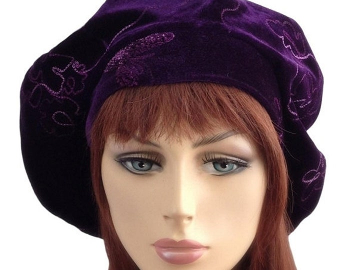 RETIREMENT SALE Oversize 13 inch Beret, Purple Embroidered Velvet Beret, Chemo Hat, French Beret, Large Beret, Slouchy Hat