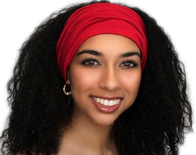 ON SALE Save 25% Red Turban Headband, Yoga headband, Wide Headband, Exercise Headband, Pretied Turban, Chemo Hat 299-12a