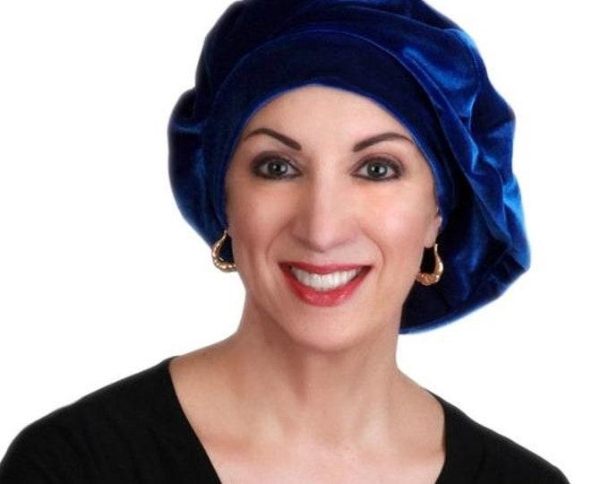 RETIREMENT SALE Save 50% Oversize 13 inch Beret, Blue Velvet Beret, French Beret, Large Beret, Slouchy Hat, Indigo,Chemo Hat, Alopecia Hat,