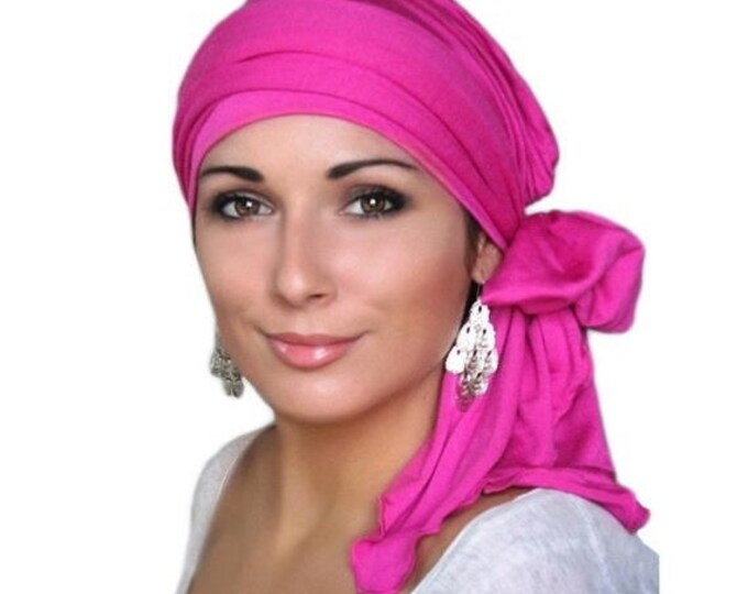 RETIREMENT SALE Turban Diva Hot Pink Fuchsia Magenta Head Wrap, Chemo Hat Turban Alopecia Scarf, Jersey Knit Hat & Scarf Set, Gift for Her