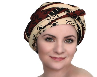 Expresso Black Creme Turban Dreads Wrap, Head Wrap, Alopecia Scarf, Chemo Hat, Boho Gypsy Tribal, One Piece Fitted