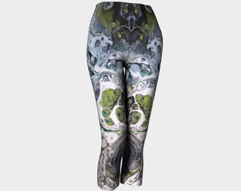 "Classic Capri Leggings ""After Midnight"" Pattern 854 Green, Black, white, gray, Wearable art"