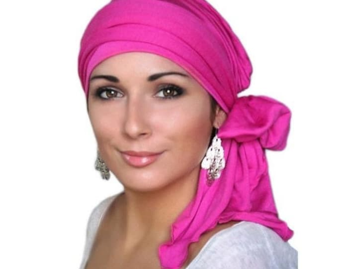ON SALE Save 30% Turban Diva Hot Pink Fuchsia Magenta Head Wrap, Chemo Hat Turban Alopecia Scarf, Jersey Knit Hat & Scarf Set, Gift for Her