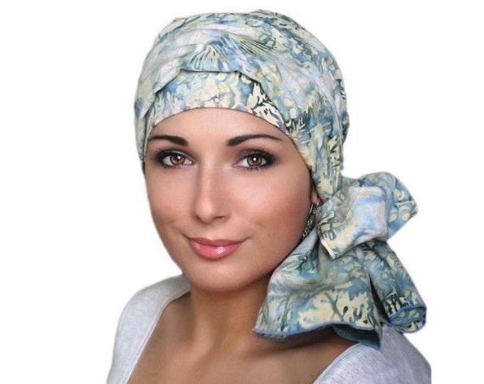 RETIREMENT SALE Denim and Lace Batik Floral Turban Hat Set, Blue, Yellow, Creme, Alopecia Scarf, Chemo Hat, Hat & Scarf Set