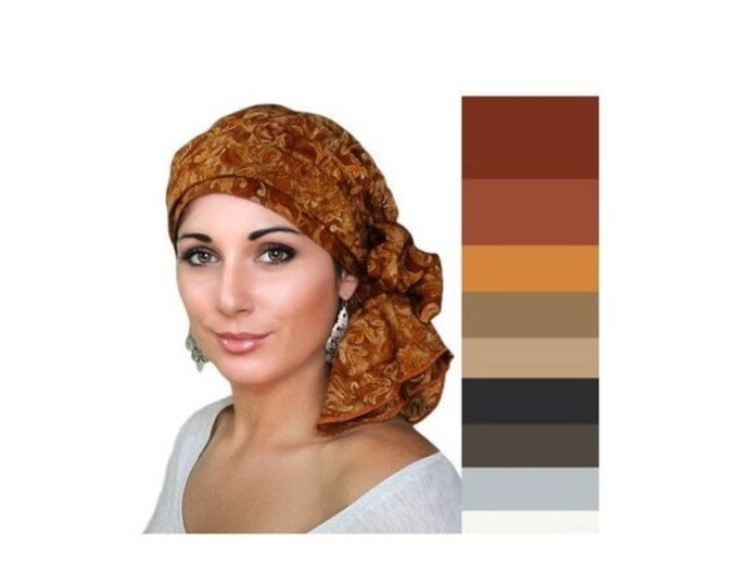 ON SALE Save 30% Rust Floral Batik Turban Hat Chemo Hat Head Wrap Alopecia Scarf Boho, Rust Cinnamon, Hat & Scarf Set