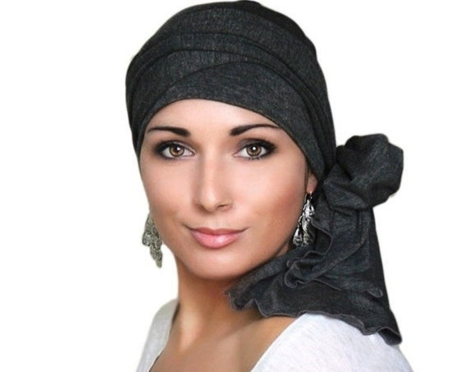ON SALE Save 30% Turban, Chemo Hat, Head Wrap, Alopecia Head Scarf, Charcoal Gray Heather, Dark Gray Turban, Jersey Knit Hat & Scarf Set, Gi