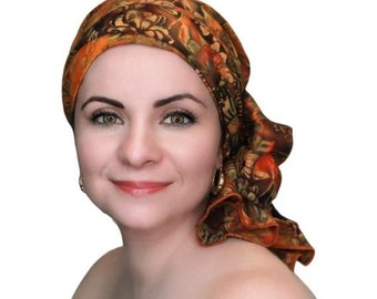 ON SALE Save 30% Turban Diva Sunflower Batik Floral Turban Hat Set, Chemo Hat, Rust, Gold, Brown, Orange, Alopecia Scarf, Gift for Her