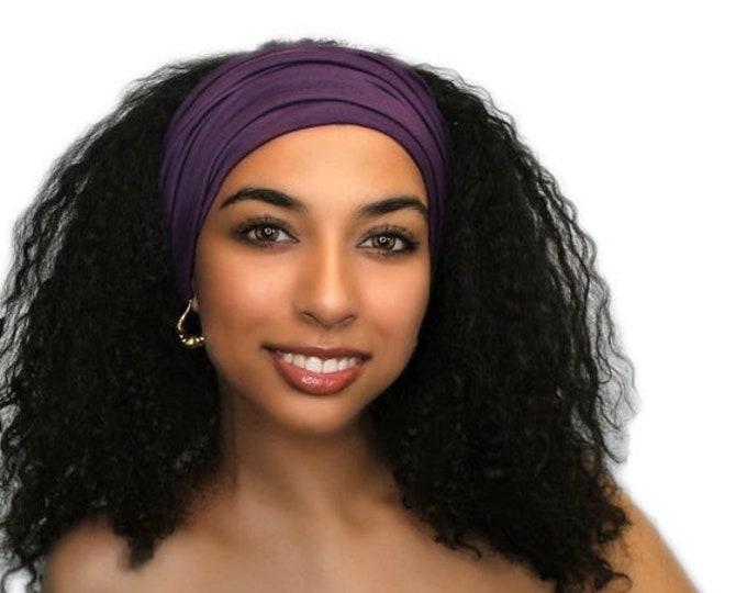 ON SALE Save 25% Plum Turban Head Band, Yoga headband, Wide Headband, Exercise Headband, Pretied Turban 298-05a