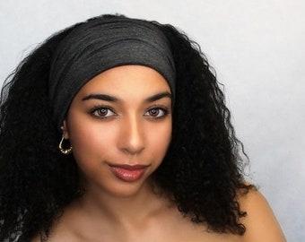 ON SALE Save 25% Charcoal Gray Turban Head Band, Yoga headband, Wide Headband, Pretied Turban, Chemo Hat 298-18a