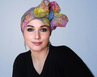 Carnival Floral Turban Hat, Alopecia Scarf, Chemo Hat, Blue, Purple Yellow, Pink, Hat & Scarf Set by Turban Diva