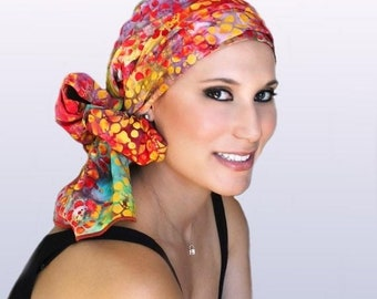 ON SALE Save 30% Turban Diva Chemo Hat, Head Wrap, Red, Orange,Purple, Green,, Chemo Turban|Hat & Scarf Set, Garden Party, gift for her