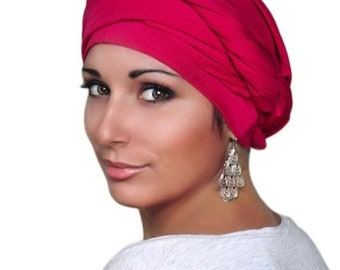 RETIREMENT SALE Turban Diva Fuchsia, Hot Pink Turban Head Wrap, Chemo Hat, Boho, One Piece Wrap, Fitted Turban