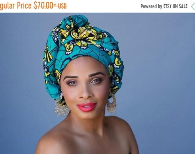 ON SALE Save 40% African Wax Print Turban Dreads Wrap, Turquoise Teal Gold Black Head Wrap, Alopecia Scarf, Chemo Hat, Boho Gypsy Tribal, 1