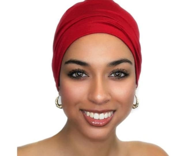 ON SALE Save 25% Red Chemo Hat, Sleep Hat, Alopecia Cap, Cloche, Scarf Liner Slouch Hat Red, Rayon Knit, Invisible Seam, Beanie Hat