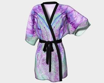 Kimono Robe, Dressing Gown,Teal, Green, Purple, Lounge Wear, Boho, Jellyfish Pattern