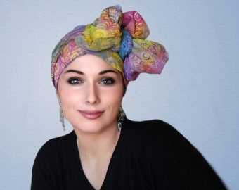 ON SALE Save 30% Carnival Floral Turban Hat, Alopecia Scarf, Chemo Hat, Blue, Purple Yellow, Pink, Hat & Scarf Set by Turban Diva