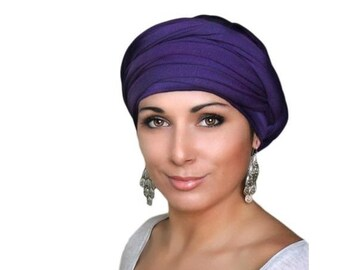 ON SALE Save 30% Turban Diva, Purple Turban, Jersey Knit Head Wrap, Chemo Hat, One Piece Wrap, Fitted Turban