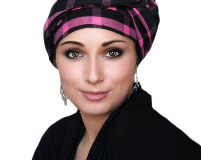 ON SALE Save 30% Turban Diva Pink Black Plaid Turban Head Wrap, Chemo Hat, One Piece Wrap, Fitted Turban