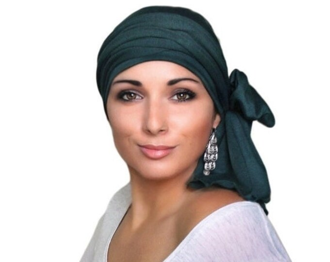 ON SALE Save 30% Turban Diva Turban Head Wrap Alopecia Chemo Head Scarf Forest Green, Jersey Knit Hat & Scarf Set, Gift for Her