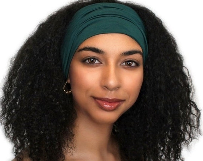 ON SALE Save 25% Head Band, Turban Headband, Yoga headband, Wide Headband, Exercise Headband, Forest Green 298-02a
