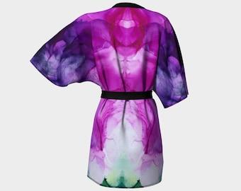 Kimono Robe, Dressing Gown, Fuchsia Blossom, Pink, Fuchsia, Green, White, Lounge Wear, Boho, Fuchsia Blossom Pattern 616