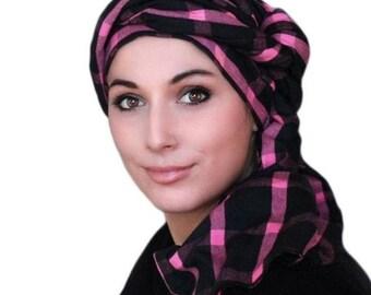 RETIREMENT SALE Save 50% Turban Diva Pink Black Plaid Turban Head Wrap, Chemo Hat, One Piece Wrap, Fitted Turban