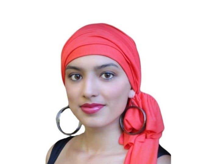 RETIREMENT SALE Turban Diva Coral Turban Head Wrap Alopecia Head Scarf Chemo Hat, Jersey Knit Hat & Scarf Set