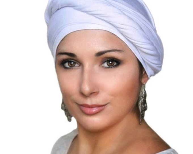 RETIREMENT SALE White Turban, Head Wrap, Chemo Hat, One Piece Fitted, Jersey Knit Head Wrap