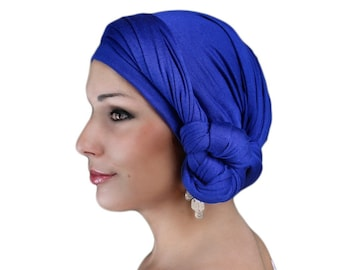 Turban Diva Royal Blue Cobalt, Royal Blue Turban Head Wrap, Alopecia Scarf, Chemo Hat, Boho Gypsy Tribal, One Piece Fitted Wrap, Jersey Knit