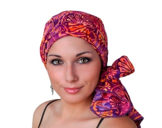 ON SALE Save 30% Turban Diva Fan the Flames Purple Coral Turban Chemo Hat Head Wrap Alopecia Scarf Batik Boho, Chemo Turban, Hat & Scarf Set