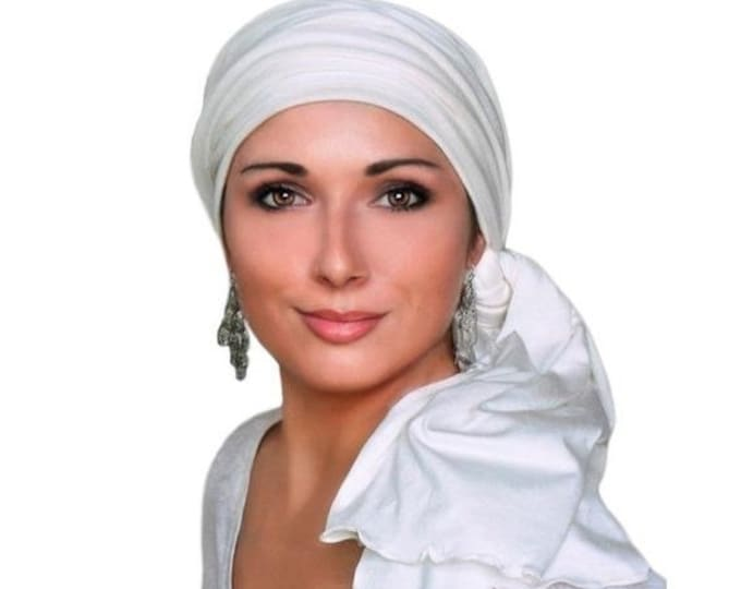 ON SALE Save 30% Turban Diva Creme Turban, Head Wrap, Chemo Hat, Alopecia Head Scarf, Pre-tied Turban, Jersey Knit Hat & Scarf Set, Gift for
